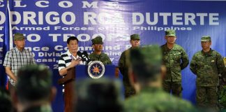 President Rodrigo Roa Duterte, in his speech during his visit at the 4th Infantry Division Advance Command Post in Butuan City on June 17, 2017, reiterates his vow to secure a P50-billion trust fund which will cover the educational expenses of all the soldiers' children. ROBINSON NIÑAL JR./PRESIDENTIAL PHOTO