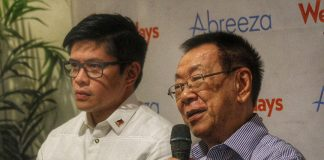 DRUMMING UP. Selrahco management president Charles Lim (right), together with Davao City Sports Development Office head Mikee Aportadera, promotes the upcoming sports tourism forum slated at Grand Men Seng Hotel on June 25 during Wednesdays @ Habi at Kape at Abreeza Mall. The forum aimed to unveil Davao City as a sports tourism destination. LEAN DAVAL JR.