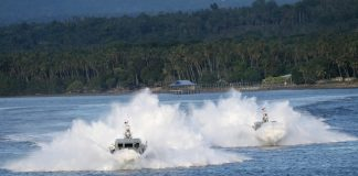 LEAN BUT MEAN. The Philippine Navy demonstrates the capability of its newly-acquired Multi Purpose Attack Crafts (MPACs) while President Duterte was watching during its 119th anniversary held at Sasa Wharf in Davao City on Wednesday afternoon. LEAN DAVAL JR.