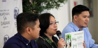 MINING VIEWS. Interface Development Interventions (IDIS) acting executive director Chinkie Pelino-Golle (center), who is joined by Philippine Misereor Partnership, Inc. Davao Region Cluster's lawyer Mark Penalver (left) and lawyer Ian Gencianeo, discusses the organizations' environmental concerns and the call to the government to issue a moratorium against mining operation. LEAN DAVAL JR.