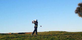 AT THE DUNES. Nagayo hits her tee shot at The Dunes.