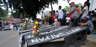THE MEDIUM AS THE MESSAGE. Progressive groups stage a protest rally with mock coffins written with names of alleged victims of militarization at the Freedom Park in Davao City a few hours before President Duterte delivers his second State of the Nation Address (SONA) on Monday. LEAN DAVAL JR.