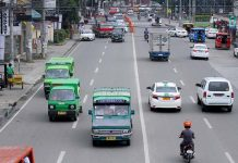 JUST ABOUT ENOUGH. Public utility jeepneys (PUJs) traverse along J.P. Laurel Avenue in Davao City on Thursday. At least 70 percent of the total number of PUJs and 80 percent of taxis in Davao City did not join the transport strike organized by Transmission- Piston Southern Mindanao. LEAN DAVAL JR.
