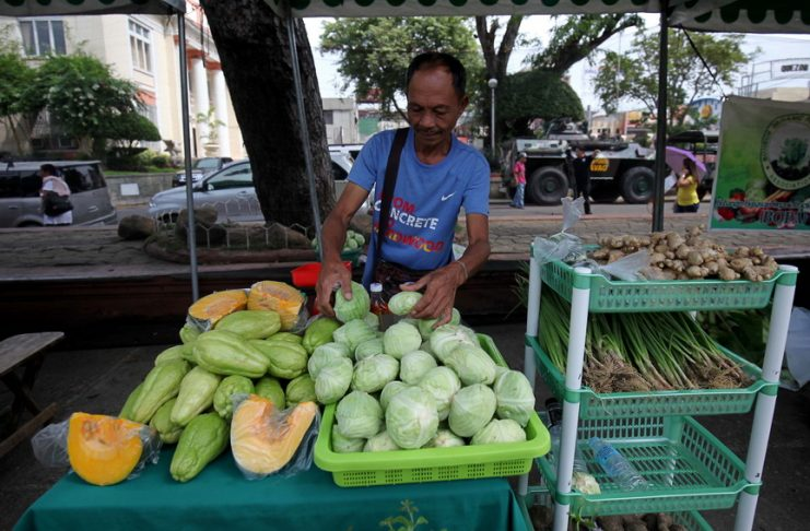 An organic farmer displays freshly harvested cabbage sold at the weekly organix market at Rizal Park in Davao City on Thursday. LEAN DAVAL JR.