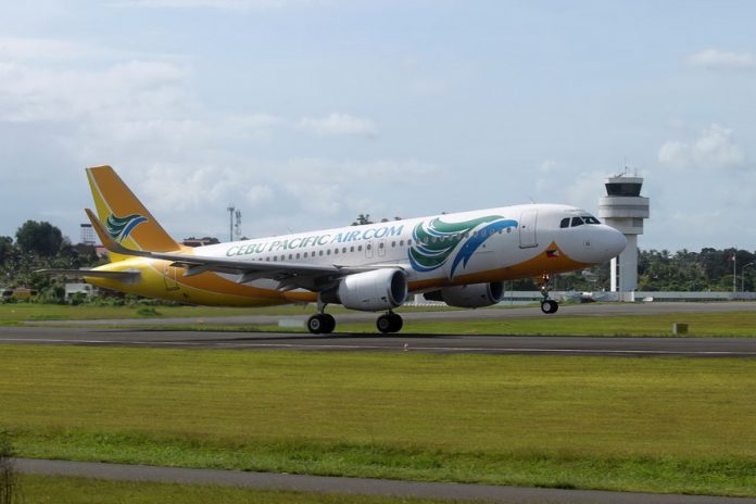NEW ROUTE.A Cebu Pacific plane is taking off at the Davao International Airport in Davao City. CebPac will fly four times a week from Davao to Tacloban and vice versa starting today which is expected to boost the domestic tourism opportunities of both cities. LEAN DAVAL JR.