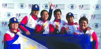 PNP LADY PATROLLERS. (From left to right) SPO3 Rosenda C. Quiao, PO1 Cassandra E. Ledda, PO1 Lourdilyn D. Catubag, PO1 Karen Kay L. Quilario, PO1 Jessan E. Tano, SPO3 Marilyn V. Mateo.