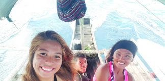 Surprised to find out that my local surfer friends, Iyay Magbago and Peter Ocdenaria were also the ones who were manning our boat for the dolphin watching!