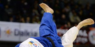 OLYMPIC HOPEFUL. Ace judoka Kiyomi Watanabe (right) of the Philippines in action.