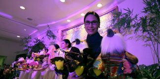 NOVELTY UNVEILED. Marco Polo Davao general manager Dottie Würgler-Cronin holds a pair of Philippine Eagle stuffed toys donning ethic dresses of one of the 11 tribes of Davao City during the launching of the hotel's Kadayawan sa Davao 2017 festivity called 'Fashion and Fusion' on Tuesday night. The stuffed toy eagles are up for bid wherein all the proceeds will go to the Philippine Eagle Foundation. LEAN DAVAL JR.