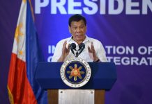 President Rodrigo Roa Duterte, in his speech during the oath-taking ceremony of the newly-installed officers and members of the Integrated Bar of the Philippines (IBP) Davao City Chapter at the SMX Convention Center in Lanang, Davao City on September 30, 2017, reiterates that he will enforce the law equally to any citizen in line with his intensified campaign against illegal drugs. JOEY DALUMPINES/PRESIDENTIAL PHOTO