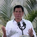 UNPERTURBED. President Duterte gestures while delivering a speech in this undated photo. The President's net satisfaction and trust ratings dropped according to the latest survey of The Social Weather Stations (SWS). Duterte recorded a gross satisfaction rating of 67 percent while his gross trust rating was higher at 73 percent. LEAN DAVAL JR.
