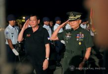 SUCCESSFUL VISIT. President Duterte is accorded with military honors upon his arrival at the Tactical Operations Group (TOG) XI in Davao City following his attendance to the Golden Jubilee Celebration of the Accession to the Throne of His Majesty Sultan Haji Hassanal Bolkiah Mu'izzaddin Waddaulah in Brunei Darussalam on Saturday. Accompanying the President is Eastern Mindanao Command (EastMinCom) Commander Lt. Gen. Rey Leonardo Guerrero. PRESIDENTIAL PHOTO