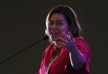 STRESSING A POINT. Davao City Mayor Sara Duterte-Carpio gestures while delivering a speech during a convention in Davao City in this undated photo. The mayor issued an order creating the Davao City Anti-Scam Unit under the Mayor's office on Tuesday. Lean Daval Jr.