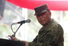 Newly-installed Eastern Mindanao Command chief Lt. Gen. Benjamin Madrigal delivers his speech during the turnover of command at the Eastern Mindanao Command headquarters in Davao City on Wednesday, November 15. Mindanews Photo