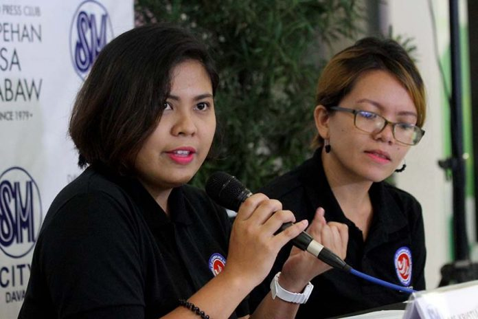 INSIGHT. National Union of Journalist in the Philippines (NUJP) Davao Chapter president Zea Capistrano (right) and treasurer Kristianne Fusilero promote the upcoming launching of Defending Journalism, a book by NUJP in coordination with Asian Institute of Journalism and Communications slated on November 18 at Pinnacle Hotel during the Kapehan sa Dabaw at the Annex of SM City Davao on Monday. The book tackles the national mechanisms which protect journalists and address the issue of impunity and a comparative analysis of practices in seven countries. LEAN DAVAL JR.