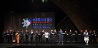 UNDER ONE ROOF. President Rodrigo Duterte and the rest of the leaders from the Association of Southeast Asian Nations (ASEAN) member states and dialogue partners do the traditional ASEAN handshake as they pose for a photo during the opening of the 31st ASEAN Summit and Related Summits at the Cultural Center of the Philippines in Pasay City on Monday. The dialogue partners include New Zealand, Timor-Leste, Republic of Korea, USA, Australia, India, China and Japan. PRESIDENTIAL PHOTO