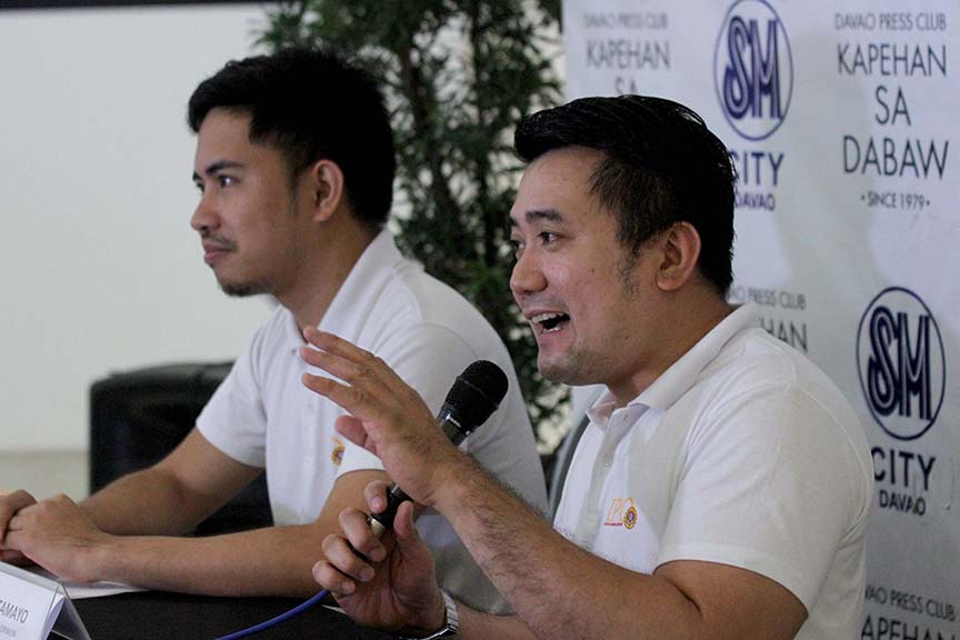 SARA EXAMINED. University of Mindanao Institute of Popular Opinion executive director Dr. Adrian Tamayo (right) shares the results of the organization's latest survey which is conducted to determine people's awareness of the services of the government based on the State of the City Address (SOCA) of Davao City Mayor Sara Duterte-Carpio on September 12. Tamayo, together with John Vianne Murcia, bared during the Kapehan sa Dabaw at the Annex of SM City Davao on Monday  Lingap sa Mahirap program came out as the most popular government project while  the Kian Gabriel Hotline seemed not to take roots in the consciousness of the public. LEAN DAVAL JR.
