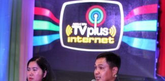 NEW FACILITY. ABS-CBN TVplus VisMin Sales head Glenn Enginco (right) talks about the features of its internet-ready DTT box during its launchingon Mondayevening. Enginco was joined by TVplus product marketing head Regina Napile. LEAN DAVAL JR.