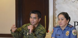 COMPLIANT. Major Ezra Balagtey, East Mindanao Command spokesperson assures the public that the one year extension of the martial law in Mindanao will be ruled by necessity, proportionality, rule of law and respect for human rights during the AFP-PNP Press Corps Southern Mindanao Media Briefing on Thursday. Together with him is PSI. Maria Teresita Gaspan, Davao City Police Office spokesperson. ANGIE SAVERON