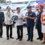 Japanese Ambassador to the Philippines Koji Haneda (2nd from L) turns over 26 Mitsubishi Montero units as police patrol cars to Philippine President Rodrigo Duterte (3rd from L) and Philippine National Police (PNP) Chief Ronald Dela Rosa as Davao City Mayor Sara Duterte (R) and Davao Region Police Chief Manuel Gaerlan (2nd from Right) look on in a ceremony during the inauguration of the PNP's Regional Crime Laboratory in Davao City on 15 January 2018. MindaNews photo by MANMAN DEJETO