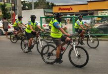 FILLING THE GAPS. Personnel from the Davao City Police Office's (DCPO) bicycle patrol unit traverse along E. Quirino Avenue in Davao City on Wednesday. Bike-riding personnel constantly patrol the streets to intensify visibility of the authorities in the city. LEAN DAVAL JR