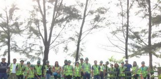 VANTAGE VIEW. Selected Media practitioners in Mindanao enjoy the 360 degree view of the Taganito Mining Corporation, overlooking both active and rehabilitated mine areas through the Mines View Deck. JUDIE VEGA