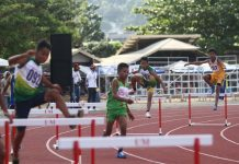Runners compete in the 400-meter hurdles in the ongoing Davao Regional Athletic Association meet at University of Mindanao Sports Complex in Davao City on Tuesday, February 20. Mindanews Photo
