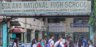 NOT INFORMED. High school students, not informed that the city government of Davao had declared suspension of classes in all levels due to tropical storm Basyang, gather outside Sta. Ana National High School along Guerrero Street in Davao City on Tuesday. LEAN DAVAL JR