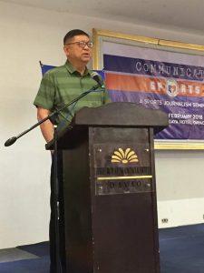 SPORTS COMMUNICATIONS. PSC Chairman Butch Ramirez opens the Sports Communications seminar on Monday at the Royal Mandaya Hotel. PSC photo