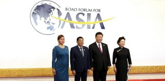 WITH PRESIDENT XI AND FIRST LADY. President Rodrigo Duterte and Davao City Mayor Sara Duterte-Carpio pose for a photo with People's Republic of China President Xi Jinping and his wife Peng Liyuan prior to the opening ceremony of Boao Forum for Asia (BFA) Annual Conference 2018 at the BFA International Convention Center in Boao, People's Republic of China on Tuesday. PRESIDENTIAL PHOTO