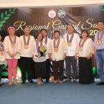 Davao Oriental Governor Nelson Dayanghirang (second from right), Banaybanay Mayor Adalia Lopez (3rd from left), Director Ricardo Oñate Jr. (extreme left), Dr. Angelina Pancho, RTD for Research and Davao Oriental Provincial Agriculturist Rotchie Ravelo in a posterity pose with the Gawad Saka Outstanding Rice Farmer Edna Deypalubos of Banaybanay, Davao Oriental. Photo by Che D. Palicte DA-11
