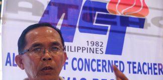 ACT Davao Region vice president Wilfredo Lacatan