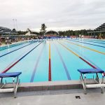 NEARLY FINISHED. The Davao City-UP Mindanao Sports Complex swimming pool is about to be completed three days before the opening of the 2019 Palarong Pambansa. PTV News Mindanao