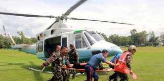 Four of the six wounded members of the Presidential Security Group were airlifted to Camp Evangelista, Cagayan de Oro City on Tuesday (29 Nov 2016), hours after they were ambushed by still unidentified gunmen in Marawi City. The vehicle they were riding also reportedly hit a landmine in Barangay Matampay, Tuesday morning. They were on their way to Butig town as part of the advance party of President Rodrigo Duterte, who is scheduled to visit the town. Photo courtesy of Cpl. Jordan Galicano / 4ID CMO