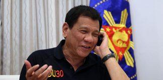 President Rodrigo Roa Duterte congratulatesUnited States of America President-elect Donald Trump through a phone call at Legaspi Suites in Davao Cityon December 3, 2016. RICHARD MADELO/Presidential Photo