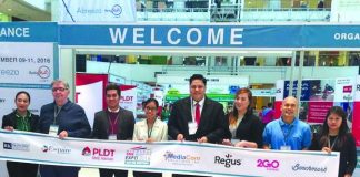 Ribbon cutting attended by senior level executives (From left to right) Sales and Training Supervisor of Readsmart Learning Center, Ms. Jennifer C. Jagorin, Founder of RK Franchise Consultancy, Mr. Rudolf Kotik, Account Executive from Power Mac Center, Mr. Mark John Miciano, Community Engagement and Marketing Communications Associate of PLDT SME Nation, Ms. Mariella Jo H. Pacial, Founder and Managing Director of Mindanao SME Business Expo and CEO of Mediacom Solutions Inc., Mr. David Abrenilla, Community Associate of Regus, Ms. Charlotte Martinez, Owner of Happy Farmer, Mr. Jun Ralota, and Account Executive of Posible.Net, Ms. Lita Abayon