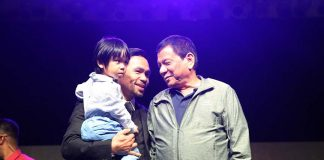 TOP-LEVEL GUEST. President Rodrigo Roa Duterte attends Senator Emmanuel 'Manny' Pacquiao's 38th birthday celebration at the KCC Mall Events & Convention Center in General Santos City on Saturday night. RICHARD MADELO/Presidential Photo