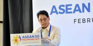 UPBEAT. Department of Labor and Employment secretary Silvestre H. Bello III says as the chairman of ASEAN 2017, the Philippines is looking forward to the finalization of the instrument on the protection and promotion of the rights of migrant workers. Bello spoke before the delegates of yesterday's ASEAN Labor Ministers' Retreat held at The Marco Polo Davao. LEAN DAVAL JR.