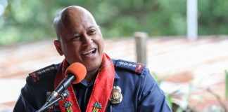 PNP Director General Ronald Dela Rosa delivers a message on March 10, 2017 during the turnover of a shelter donated by the Rotary Club of Downtown Davao for the Women and Children's Protection desk of Police Regional Office XI. MindaNews photo by Manman Dejeto