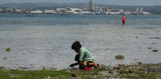 WHATEVER IT TAKES. A boy scours the shore for seashells at Barangay Pichon in Samal Island, Davao del Norte.