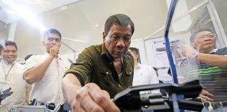 President Rody Duterte attended the Association of Firearms and Ammunition Dealers of the Philippines (AFAD) Defense and Shooting Arm Show at the SMX Convention in Lanang, Davao City on May 19, 2017.