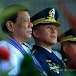 President Rodrigo Roa Duterte witnesses the pass in review during the Philippine Air Force (PAF) Change of Command Ceremony at the Haribon Hangar, Air Force City in Clark Air Base, Pampanga on October 24, 2017. Also in the photo are newly installed PAF Commander Lt. Gen. Galileo Kintanar and Armed Forces of the Philippines Chief of Staff General Eduardo Año. MARCELINO PASCUA/PRESIDENTIAL PHOTO