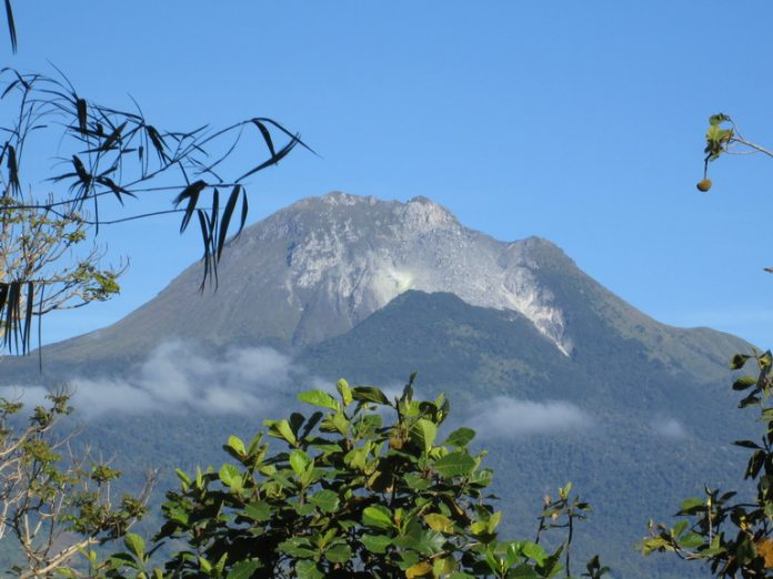 Mt. Apo's boulder face as seen from Kapatagan area below. At 10,311 feet above sea level, it is the country's highest peak.