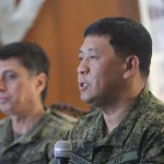 MADRIGAL SPEAKS. Eastern Mindanao Command (EastMinCom) chief Lt. Gen. Benjamin Madrigal (right), together with Major Gen. Noel Clement, commander of Philippine Army's 10th Infantry Division, gives his take on the conflicting pronouncements of President Duterte and Davao City Mayor Sara Duterte-Carpio on the peace talks between the government and the Communist Party of the Philippines (CPP) and its armed group, New People's Army (NPA), during Hermes media forum at the Waterfront Insular Hotel on Friday afternoon. LEAN DAVAL JR.