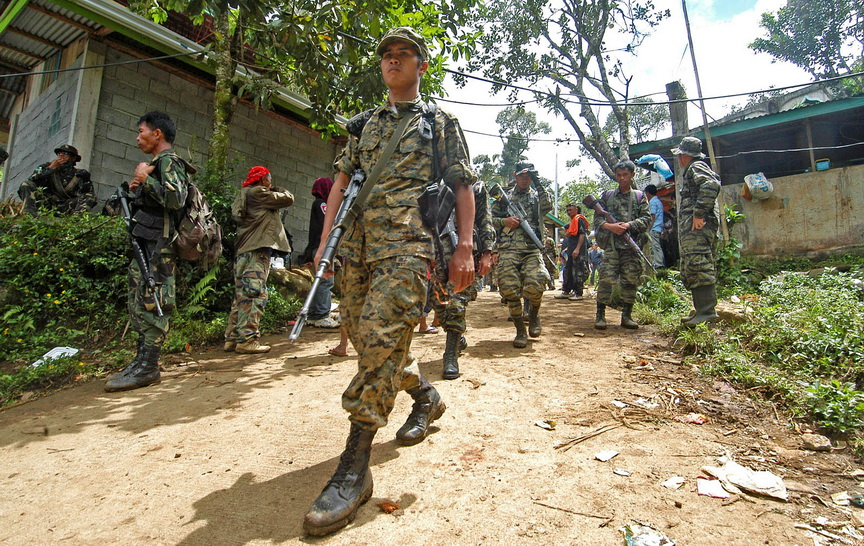 MILF fighters in their camp in Barangay Bualan, Balindong town in Lanao del Sur. Mindanews File Photo / Froilan Gallardo