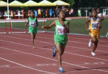 A barefoot runner from Tagum City competes in the 1,500-meter run in the ongoing Davao Regional Athletic Association meet at University of Mindanao Sports Complex in Davao City on Tuesday, February 20. Mindanews Photo