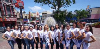THINNING DOWN. The 15 finalists of Mutya ng Davao 2018 pose for a group photo at Quezon Park after a news conference on Thursday. This year's mutya will be crowned on March 15. LEAN DAVAL JR