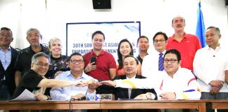 TRIPARTITE AGREEMENT. (L-R seated) POC Chairman Steve Hontiveros, Team Philippines Chef de Mission and PSC Chairman William Ramirez, POC President Cong. Bambol Tolentino and PHISGOC President and COO Ramon Suzara sign the tripartite agreement for the 30th Southeast Asian Games on Wednesday at the RMSC, Manila.