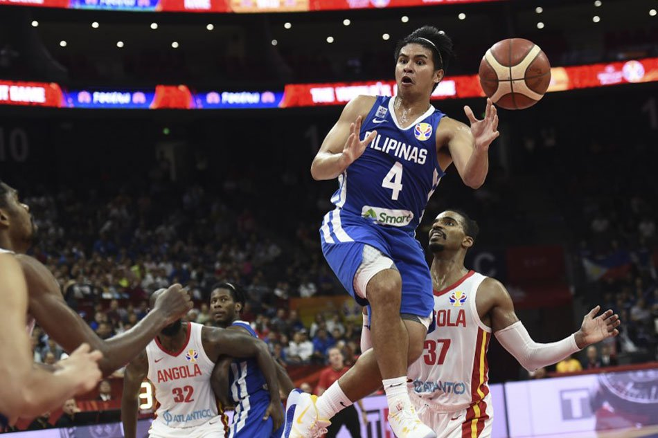 Kiefer Ravena of the Philippines passes the ball during the Basketball World Cup Group D game between Angola and Philippines in Foshan September 4, 2019. AFP