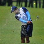 Action will be intense in the 11th Eaglemasters Golf Tournament. In this previous edition, a participant's face is partially blurred by the blast of sand from the bunker at the Apo Golf and Country Club. BOY LIM